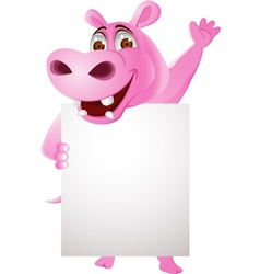 Hippo cartoon with blank sign vector image