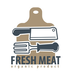 organic meat product logotype with cutleries and vector image