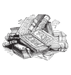pile of books volume vintage engraving vector image vector image