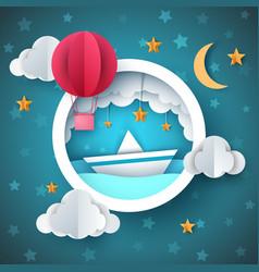 air balloon ship cartoon sea vector image