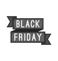 Black Friday sale ribbon icon cartoon style vector image
