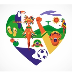Brazil love - heart with a set of icons vector image