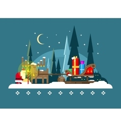 Christmas sleigh full of gifts vector image
