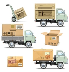 Delivery Retro Light Truck vector image vector image