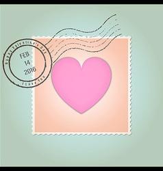 Happy Valentines Day Postage Stamp Vintage vector image vector image