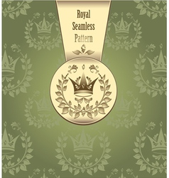 Royal seamless pattern with crown wreath leaves gr vector image