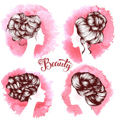 woman beautiful silhouettes with hair style vector image vector image