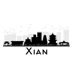 xian city skyline black and white silhouette vector image