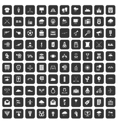 100 arrow icons set black vector image