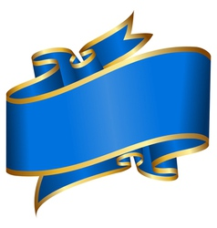 Big blue ribbon isolated on white background vector image