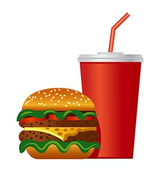 hamburger and cola icon vector image vector image