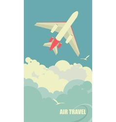 The plane flies against the sky vector image vector image