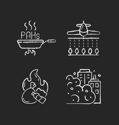 Air pollution chalk white icons set on black vector