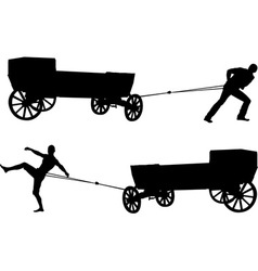 ancient cart and man vector image