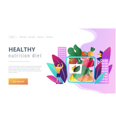 Assorted snack pack concept landing page vector