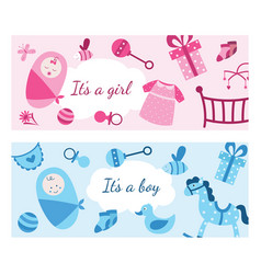 Baby girl and boy banner set in pink and blue vector