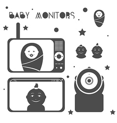 Baby monitors design element black vector