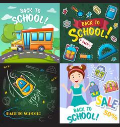 back to school desk banner set cartoon style vector image