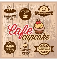 bakery and cafe design elements vector image