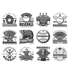 Baseball sport team club tournament icons vector