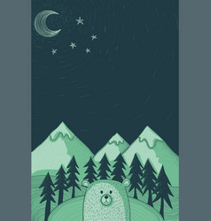 Bear at night doodle vector