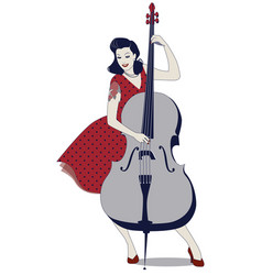 Beautiful and tattooed pin-up girl playing double vector