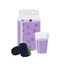 Blackberry smoothievegetarian organic detox drink vector