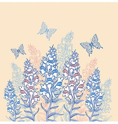 Blue and pink wildflowers vector