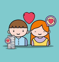 Boy and girl lover with chat message vector