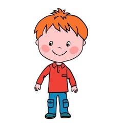 Boy stands and looks in lower right corner vector