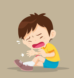 Boy with wounds on his leg vector