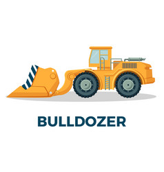 bulldozer crawler tracked tractor equipped with vector image