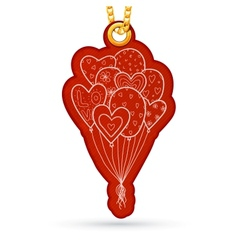 Bunch of balloons Label tag hanging on golden vector