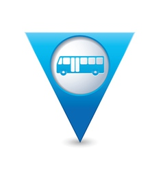 bus icon map pointer blue vector image