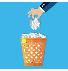 Businessman hand put paper in recycle bin vector