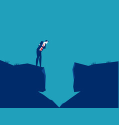 Businessman looking into a hole in arrow vector