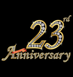 celebrating 23th anniversary golden sign with vector image