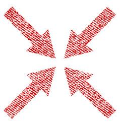 Center arrows fabric textured icon vector