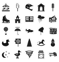 childrens park icons set simple style vector image