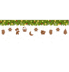 christmas banner with garland and christmas vector image