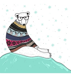 Christmas card with cute hipster polar bear vector image