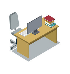 Classroom desk with textbook isometric icon vector