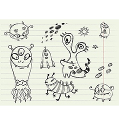 Collection of cartoon doodle monsters 5 vector