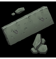 Concrete slab and rocks on black background vector