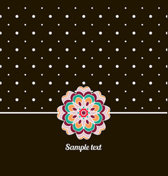 cover oriental-style card cute picture dots black vector image