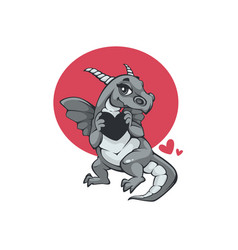 cute little dragon holding a heart symbol love vector image