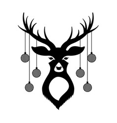 deer with christmas balls vector image