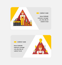 Electricity business card electrician vector