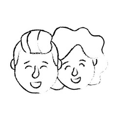 Figure avatar couple head with hairstyle design vector