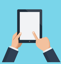 finger touching blank screen of vertical tablet vector image